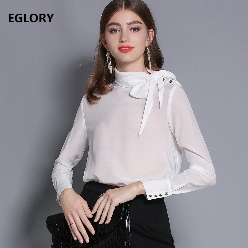 100%Silk   Blouse     Shirt   High Quality Brand Women Bow Collar Shoulder Long Sleeve White Pink   Blouse   Ladies Elegant Office   Blouse   OL