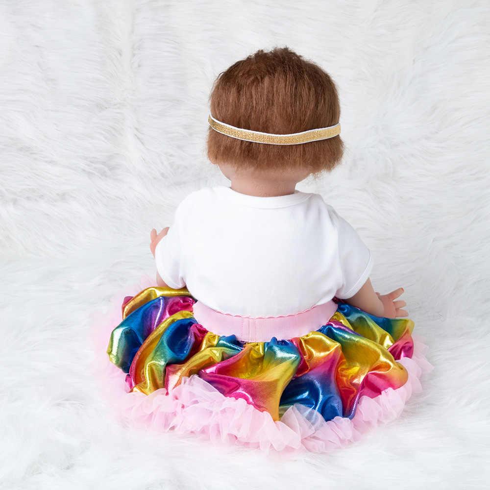 Rainbow Baby Doll Toy Girl 22 pulgadas Reborn Vinyl Girls Dolls niños alto tacón traje de silicona suave 55 cm boneca recién nacido