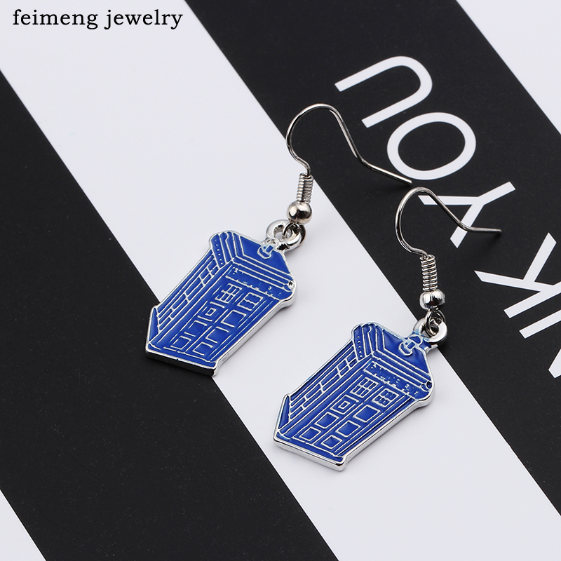 Doctor Who Earrings for Women Movie Jewelry House Police Hall Pendant Ear Rings Ear Drop Dangle Female Girls Earrings bijouterie