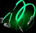 2016 NUEVOS Auriculares Venta Caliente Resplandor Resplandor En La Oscuridad auriculares Cremallera de Metal Brillante Auricular Luminoso Luz Manos Libres Estéreo Con Mic