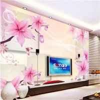 Poziom beibehang tapety fioletowy lilia 3D stereo box TV tle malowidła ścienne papel de parede fototapety papel parede