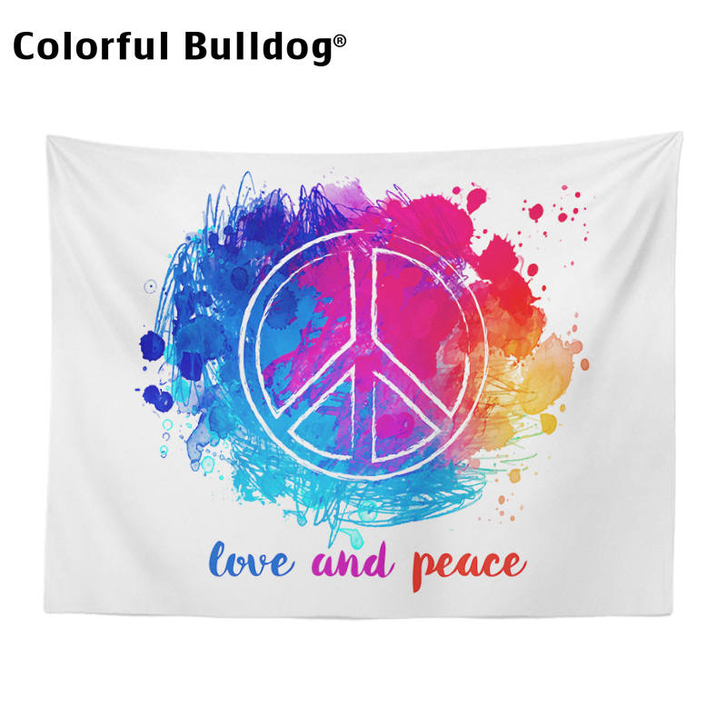 US $5 99 |Hippie Tapestry World Map Peace Love Summer Wall Hanging Home  Friendship Family Watercolor Graffiti Blue Retro Bus Tapisserie-in Tapestry