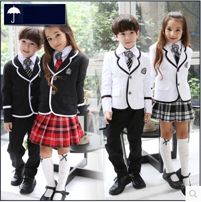 British korean japanese school uniform kids clothes uniforme escolar children girls and boys clothing jacket skirt 5 sets formal wear