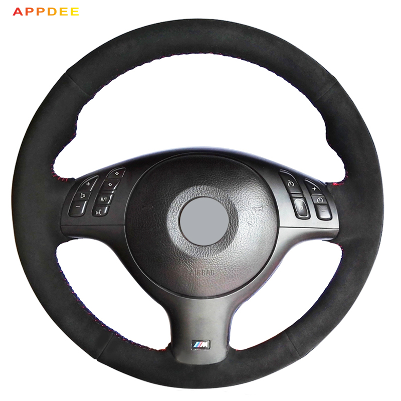 APPDEE Noir En Daim Couverture De Volant de Voiture pour BMW E46 M3 E39 330i 540i 525i 530i 330Ci 2001 2002 2003