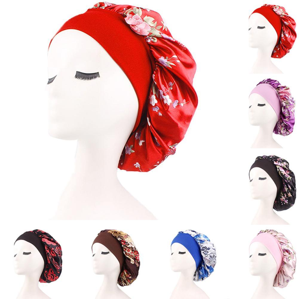 Elegant Women Silk Stain Night Sleep Cap Hair Bonnet Hat Head Cover Satin Wide Adjust Elastic Band Hats