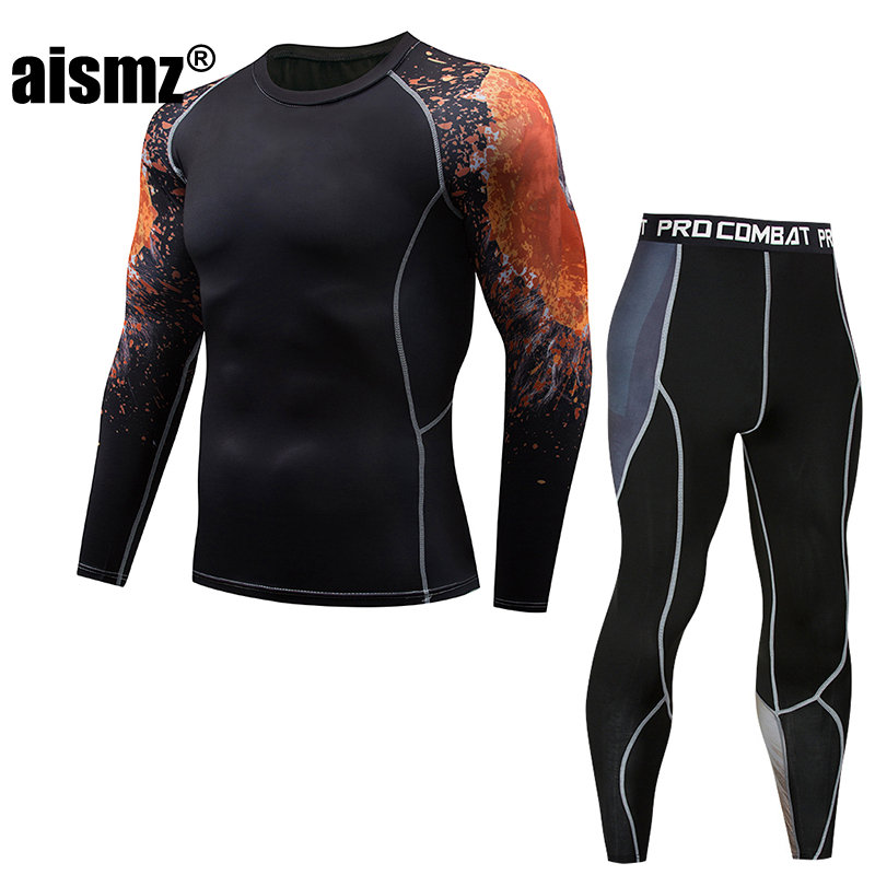 Aismz compression tactical Tracksuit Men MMA rashgard suit Mens Long Sleeve T-Shirt + tights for men Set pants Fitness Clothing