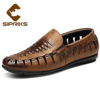 Sipriks Mens Casual Leather Shoes Fashion Slip On Shoes Tan Leather Hollow Loafer Mens Smoking Slippers