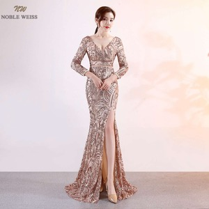 Image 1 - נובל וייס חדש הגעה שמלה לנשף נצנצים עמוק V צוואר סקסי ירך גבוהה חרכי Slim פשוט מחוך לוקסוס בת ים שמלה