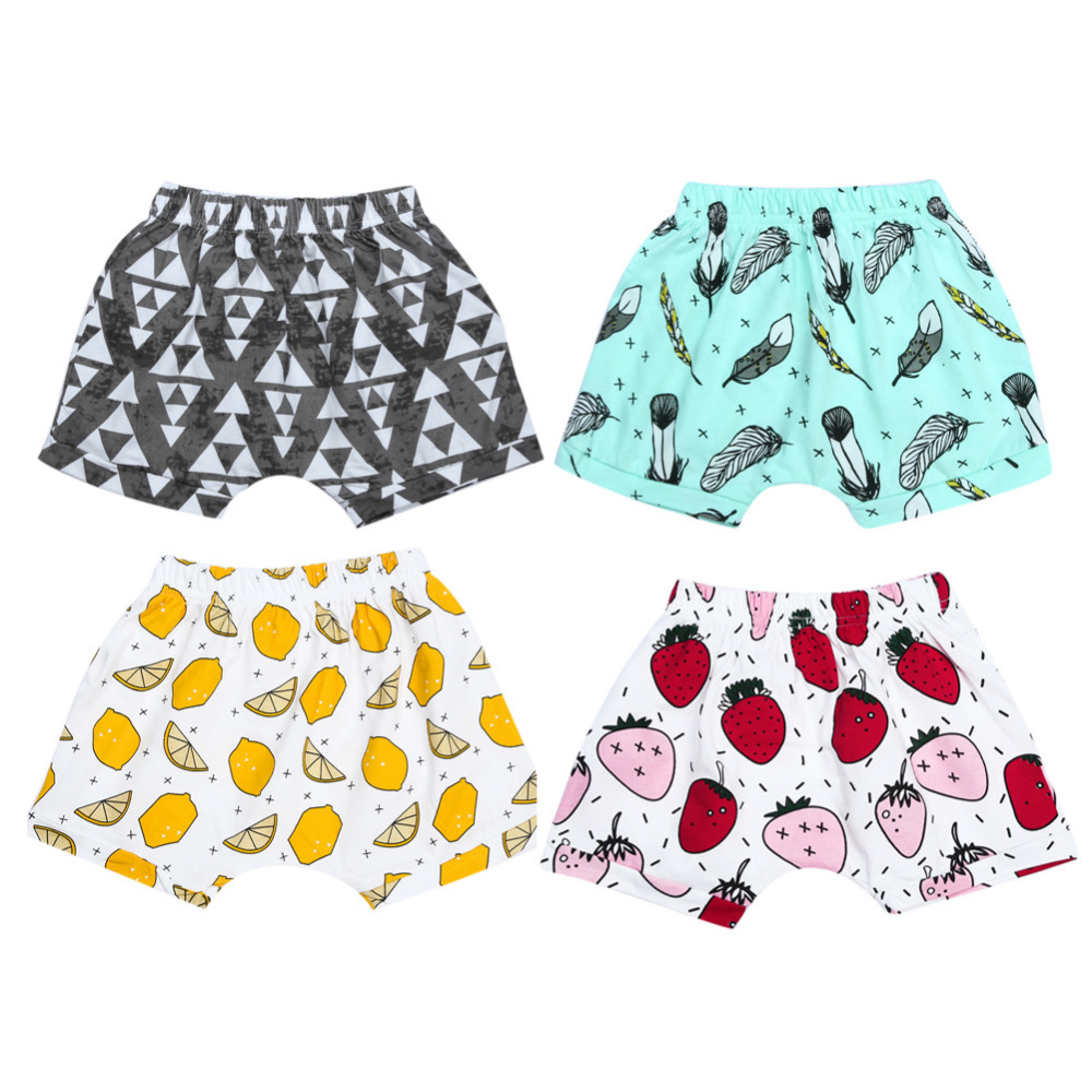 Harem Shorts Cute Printed Pants For Kids Summer Shorts Bloomers Pants Feather&Lemon&Strawberry&Plaid Bottoms Trousers Legging