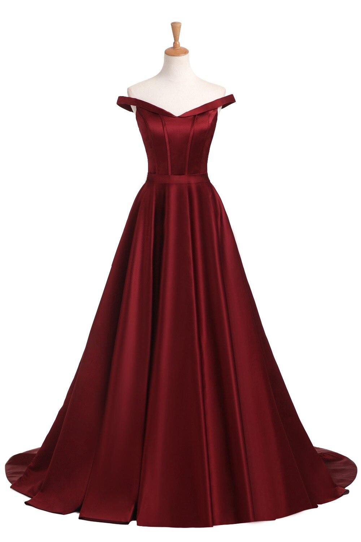 Vin Röd Elegant Aftonklänning Lång 2017 Satin V Nacka Prom Party ... 7bf6f53840429