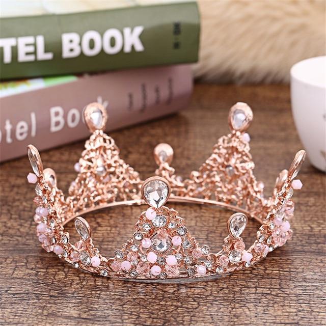 Baroque Gold Color Purple Tiara Headdress Palace Retro European Bride Crown  Wedding Accessories Round Crowns Charm f92aa5199f71