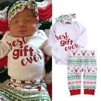 Infant Baby Girl Boy Clothese Set 3pcs Long Sleeve Romper Pants Leggings Headbands Baby Christmas Outfits