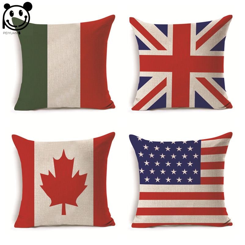 PEIYUAN Digital Printing Russia The United States Canada National Flag Pillow Cover Cotton Cushion Cover Throw Pillow Case