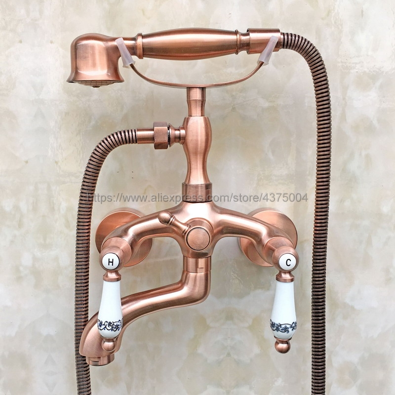Bathtub Faucets Wall Mounted Antique Red Copper Bathtub Faucet With Hand Shower Bathroom Bath Shower Faucets Ntf802Bathtub Faucets Wall Mounted Antique Red Copper Bathtub Faucet With Hand Shower Bathroom Bath Shower Faucets Ntf802