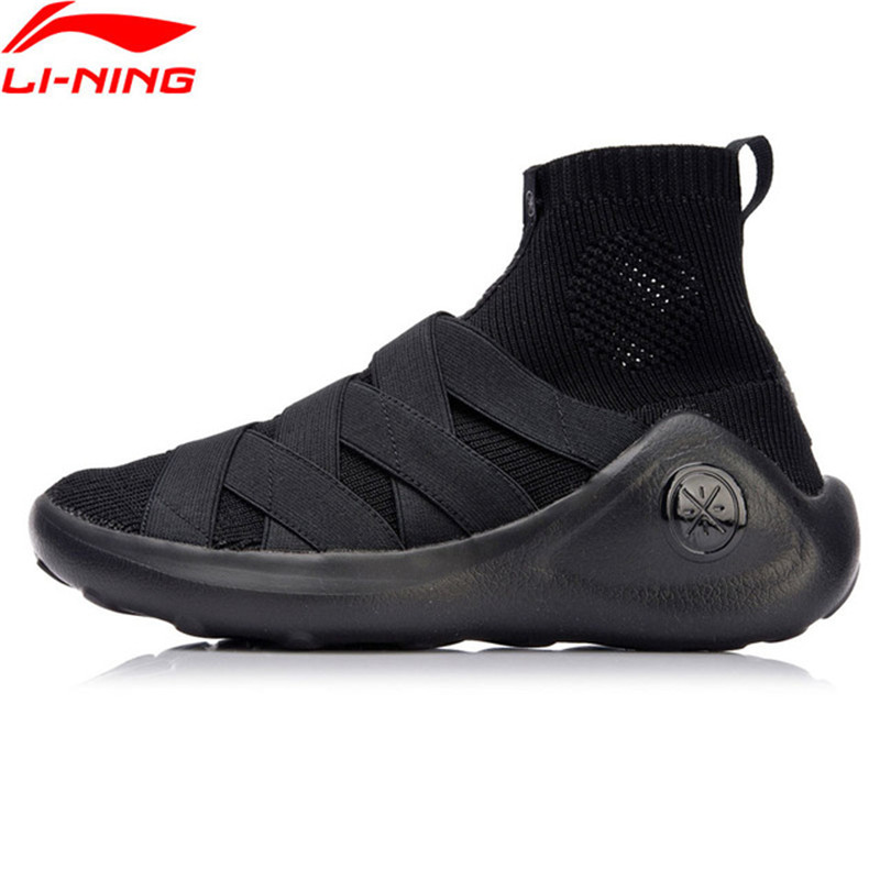 Li-Ning 2018 Women R GS Wade Culture Shoes Sock-Like Li Ning Sports Shoes Mono Yarn Wearable Breathable Sneakers AGWN014