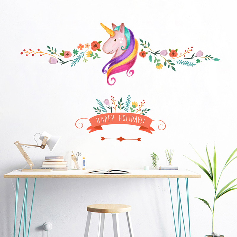 Aliexpress.com : Buy Colorful Flower Floral Unicorn Wall