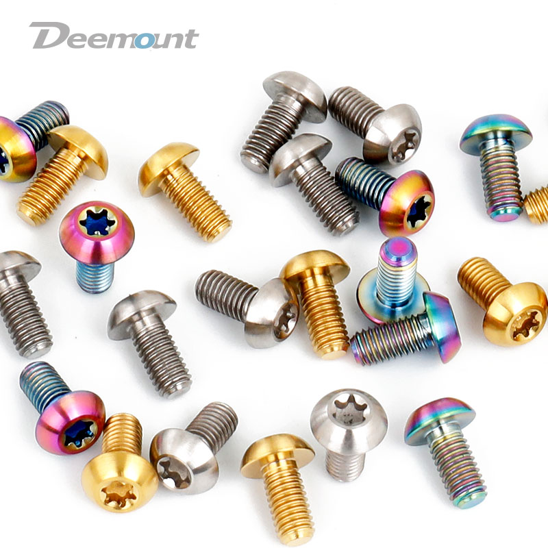 Deemount M5x10mm Disk Brake Rotor <font><b>Bolts</b></font> T25 Torx Titanium Bicycle Parts MTB Mountain Bike Brake Rotor Ti Screw 6PCS or 12PCS image