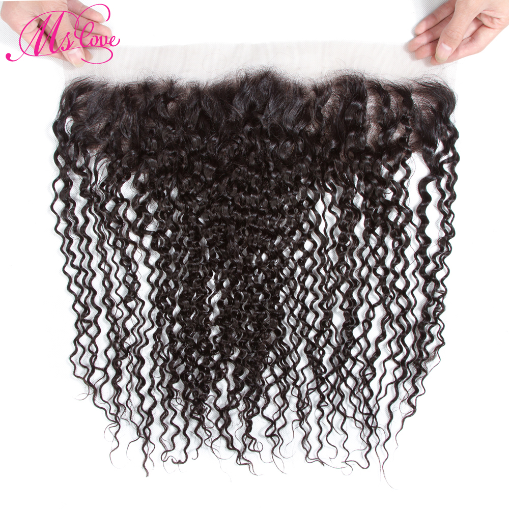 Mslove Brazilian Kinky Curly Hair Remy 13x4 Lace Frontal Natural Color 100% Human Hair Products Free Shipping