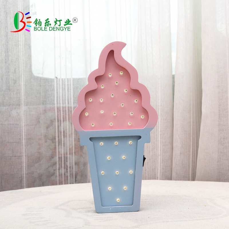 Wooden ice Cream LED Night Light Baby Bedroom Night Lamp Battery Powered LED Wall Lights Decorative Bedside lamp for Children