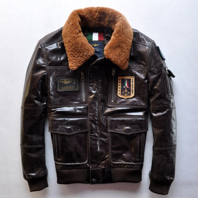 New Top Calfskin Air Force Men's Leather Jackets Flight Suit Jacket AM Aeronautica Militare Top selling for Christmas Gift