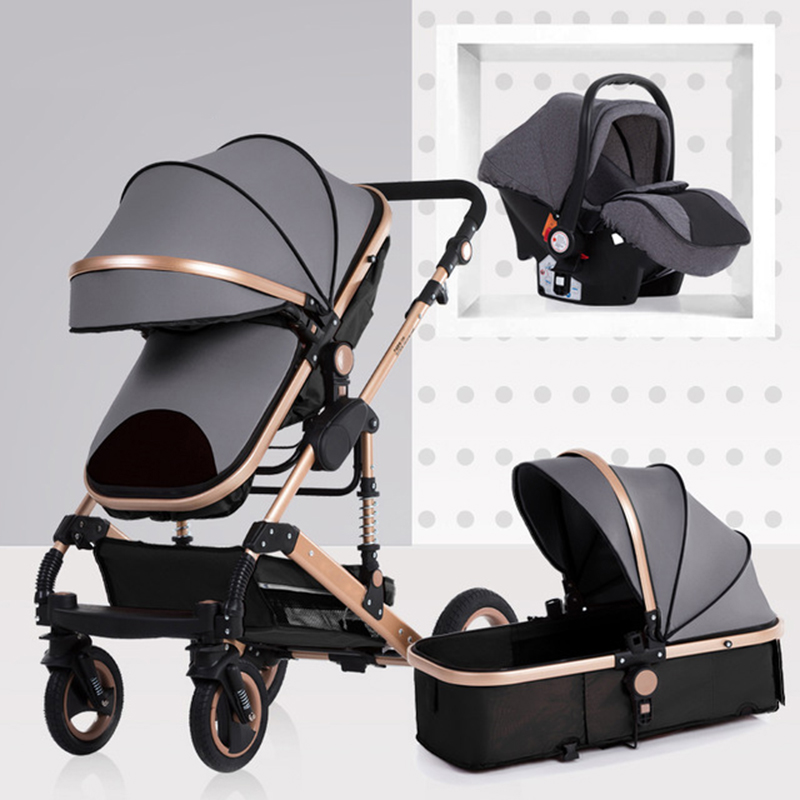 Baby stroller high landscape can sit and fold two-way four-wheel shock absorber winter trolley stroller baby stroller 3 in 1Baby stroller high landscape can sit and fold two-way four-wheel shock absorber winter trolley stroller baby stroller 3 in 1