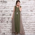 ZANZEA Fashion 2017 Summer Womens Sleeveless Cotton Linen Dresses Vintage Dress Casual Loose Long Maxi Vestidos Plus Size S-2XL
