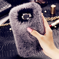 For A3100 / A5100 / A7100 100% Real Rabbit Fur PC Case Deluxe Glitter Diamond Girly Back Case For Samsung Galaxy A3 / A5 / A7