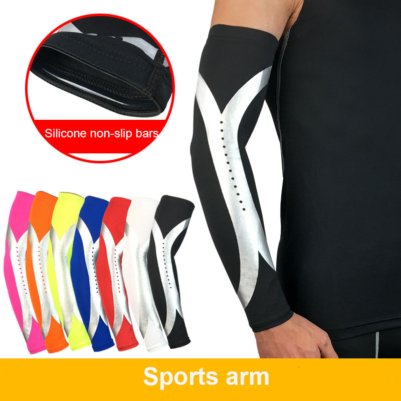 1PCS Elastic Breathale Quick Dry Sports Safety Elbow Arm Warmers Pad Cycling Basketball Long Arm Sleeve Elbow Support Protector