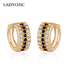 LADYCHIC 2018 Gold Color High Quality Hoop Earrings Paved Tiny Black Zirconia Stone Women Wedding/Party Earrings Jewelry LE1202 недорого