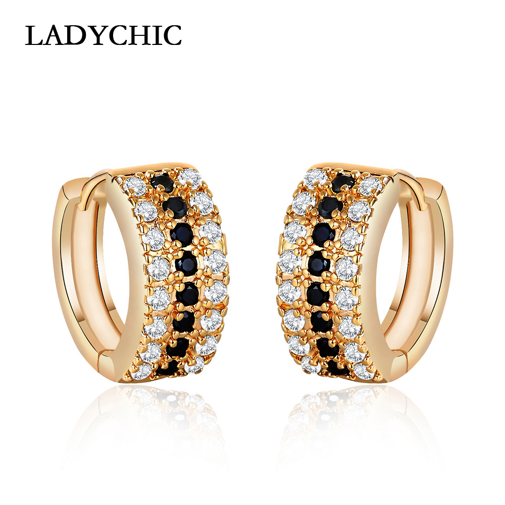 LADYCHIC 2018 Gold Color High Quality Hoop Earrings Paved Tiny Black Zirconia Stone Women Wedding/Party Earrings Jewelry LE1202