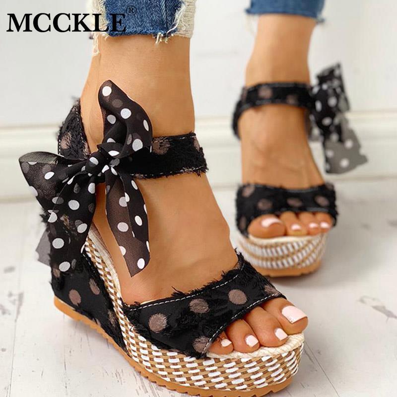 MCCKLE Women Sandals Footwear Platform Ankle-Strap Casual-Shoes Open-Toe Bowknot-Design
