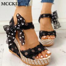 MCCKLE Women Sandals Dot Bowknot Design Platform Wedge Sandals