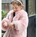 Bebés de invierno Faux Fur Fleece Coat Princesa Rosada Del Bebé Del Partido Del Desfile de Navidad Traje Para La Nieve Caliente de la Chaqueta prendas de Vestir Exteriores de Los Niños Ropa