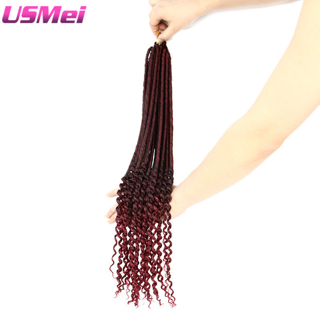 USMEI Faux Locs Curly End 24strands/pack Crochet Hair Extensions Synthetic Ombre Braid Hair piece 1Piece/Lot 4 colors for choice