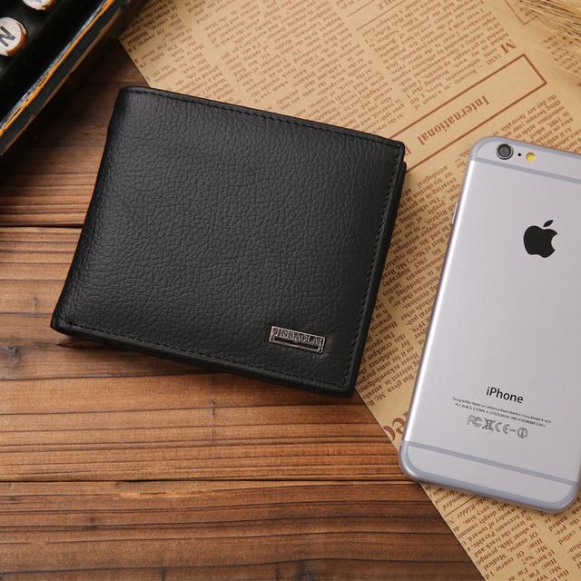 Men's Genuine Leather Solid Color Wallet