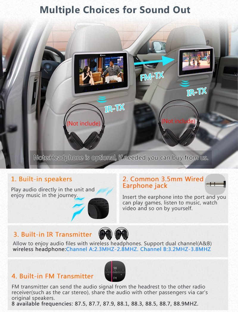 Dual screen car headrest dvd player with twin ir headphones 10 1 inch lcd screen backseat monitor with hdmi port fm transmitter in car monitors from
