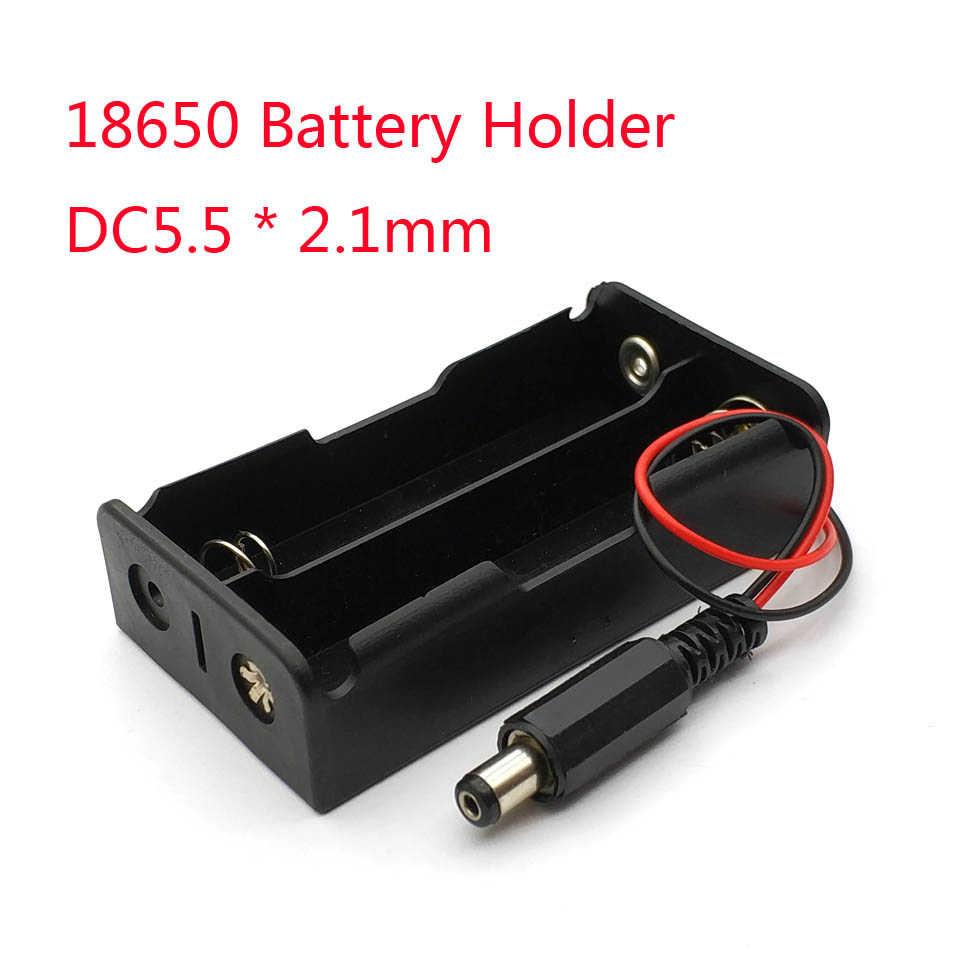 جديد قوة البنك 18650 بطارية حامل البلاستيك حامل البطارية صندوق تخزين الحال بالنسبة 2x18650 مع DC5.5 * 2.1 مللي متر قابس طاقة