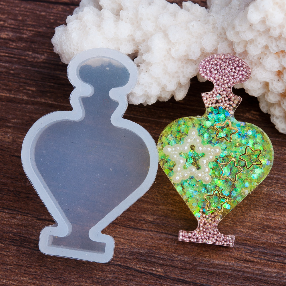 Doreen Box Silicone DIY Tools Resin Mold Heart Bottle White 44mm(1 6/8