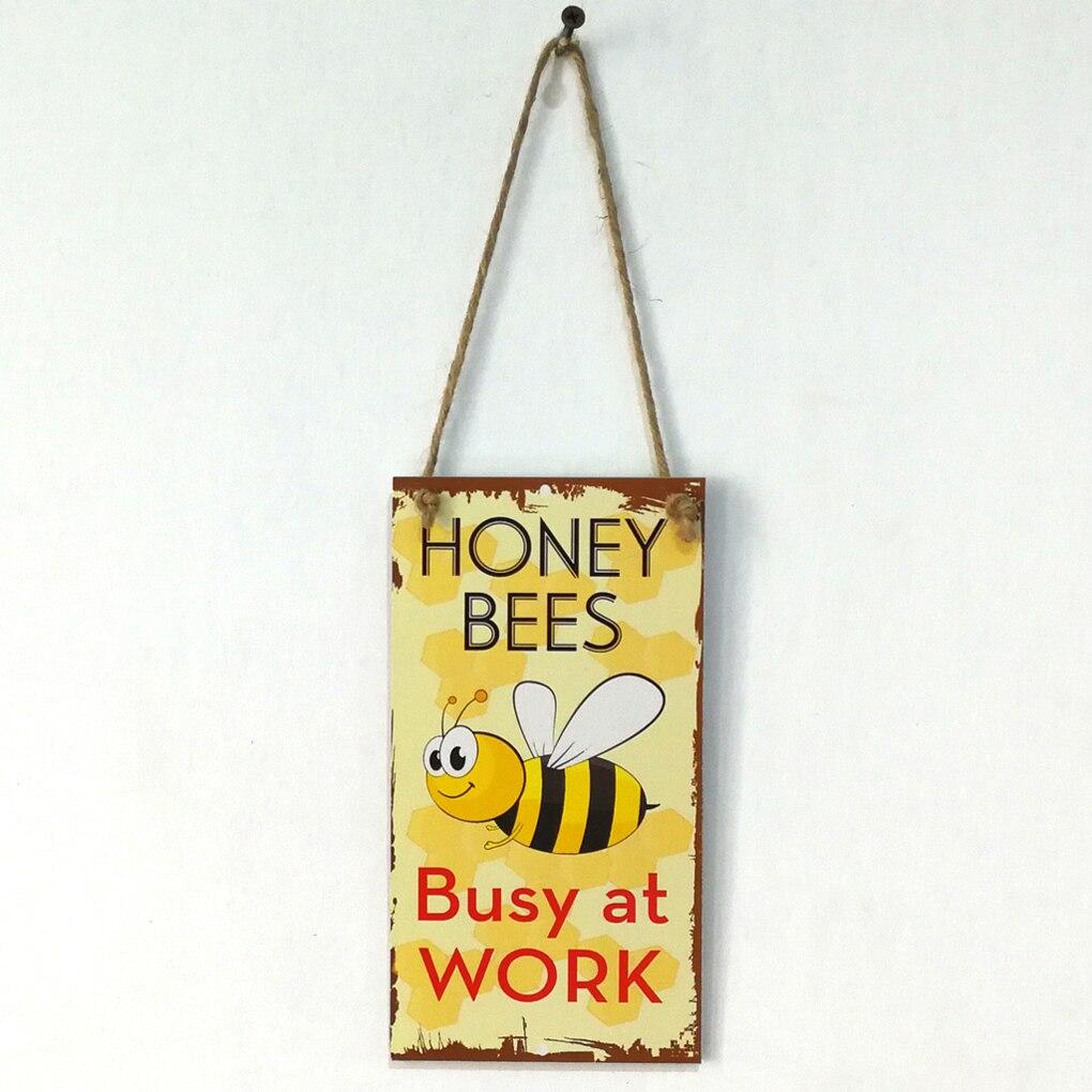 Весна пчелы заняты на работе письмо деревянные табличка знак Настенный декор висит кулон Ретро деревянная доска для сада планка украшения
