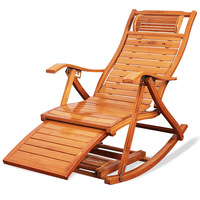 For Sell Rocking Chair Folding Bamboo Recliner Outdoor Leisure with Handle Old Man Balcony Wooden Chaise Longue