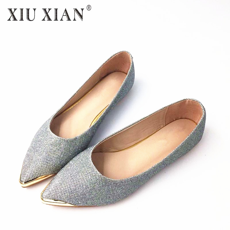 Spring Autumn Women Ballet Flats Pointed Toe Flats Shoes Sequined Cloth Ladies Shoes Flats Tendon Slip-on Low Heel Shoe TR 31-44 2017 womens spring shoes casual flock pointed toe narrow band string bead ballet flats flat shoes cover heel women flats shoes