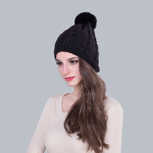 c69f9852c US $7.99 |Genuine Rabbit Fur Pompom Women Winter Hats Black Color Thick  Warm Skullies & Beanies Cable Knitted Caps for Lady-in Skullies & Beanies  from ...