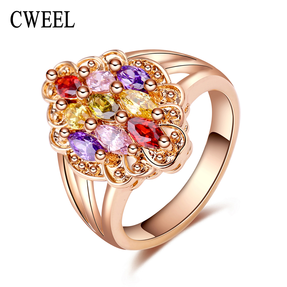 87990af7ce74 Cweel moda joyería nupcial boda imitado cristal Anillos mujeres oro color  joyería fiesta de compromiso Accesorios