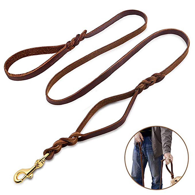 Double Handles Leather Dog Leash Braided Training Soft and Deluxe Pet Walking Lead with Copper Hook For Safe Control