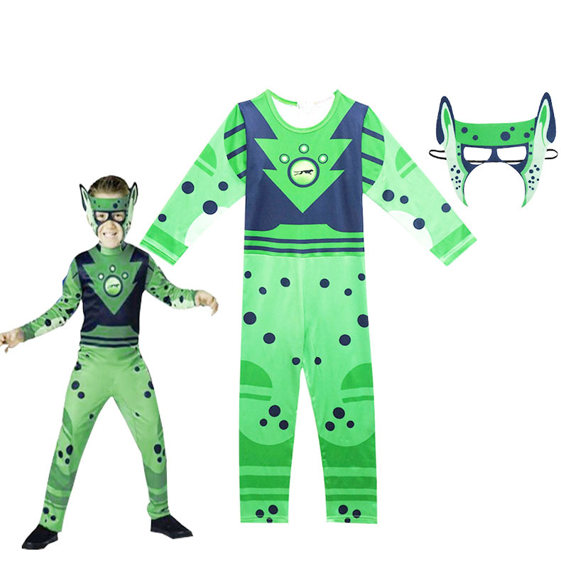 Children's Siamese Harbin Brothers Serve Wild kratts Halloween Performance Boy Cosplay Costume Green Brave Hero