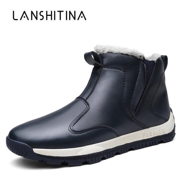 2018 NEW Men Winter Boots Rubber Antiskid Ankle Boots Waterproof Keep Warm Fur Shoes Snow Boots Winter Leather Boots Plus Size48