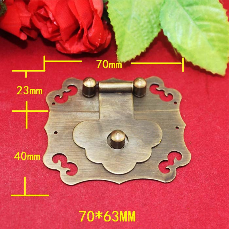 Antique Brass Latch Decorative DIY Gift Wine Wooden Box Suitcase Case Hasp Latch Lucky Hook Vintage Hardware,70*63mm,1Set 12pcs antique decorative jewelry gift wine wooden box hasp latch hook 4 screws s08 drop ship