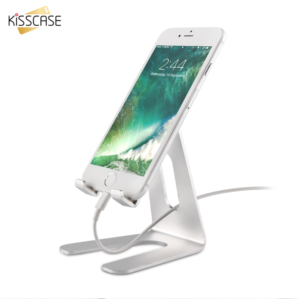 KISSCASE Universal Phone Holder Stand Tablet Aluminum Desk Holder For iPhone 6 7 Plus 8 Mobile Phone Metal Mount Stand For iPad