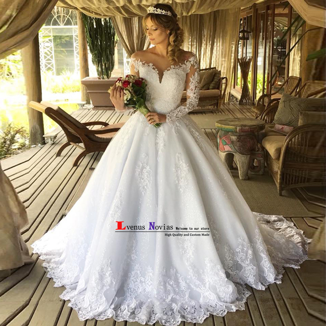 Vestido De Noiva Gelinlik Sexy bohemian Lace Long Sleeve Ball Gown Wedding  Dress 2019 Bride Dress robe mariage Abito da sposa 1d1c7817cee6