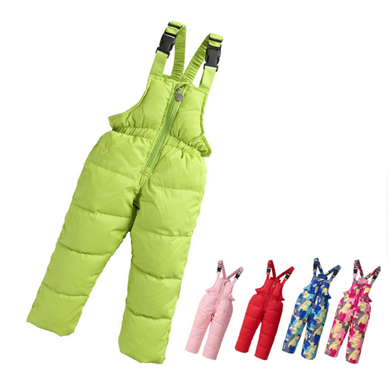 Baby Girl Winter Down Pants Children Thick Outerwear Overalls White Duck Down Pant Kids Print Warm Trousers Kids Jumpsuit 1-5Y 2017 new arrive winter children s ski pants boy and girl overalls down pants girls thick warm disassemble pant pants for 6 9t